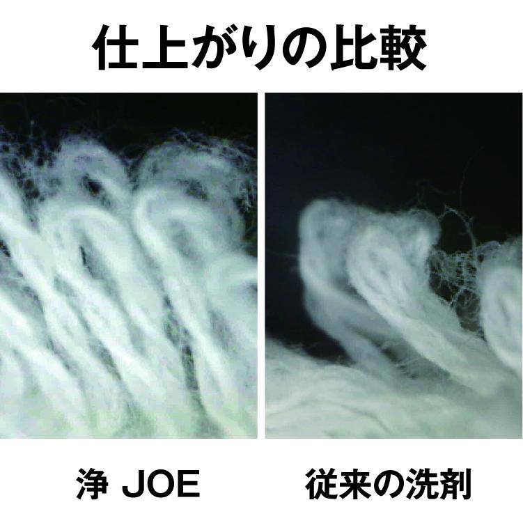 ㈱ツー・エム化成の従来の洗浄剤と「浄(JOE)」それぞれ10回洗濯したタオルのパイル地の比較