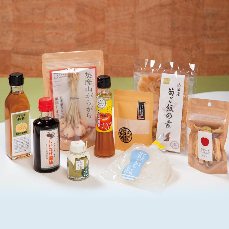 添田町人気特産品のバラエティーセットです。一番人気の土鈴<br />「英彦山がらがら」をはじめ、食品、スイーツなど盛りだくさんのセットです。