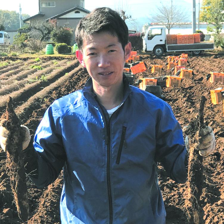 生産者:深谷市 坂本丈治さん 「お届けする大和芋は、私が土作りから丹精を込めて栽培し自信を持って出荷する品物です」